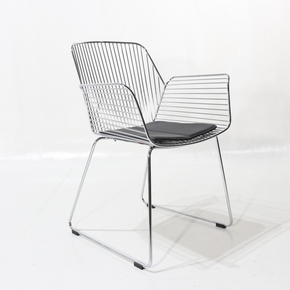 BRENDA armchair with cushion - chromed steel dining chair with armrests and upholstered seat