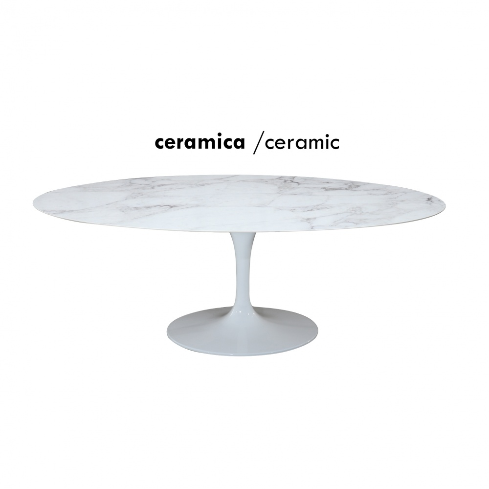 WING TABLE with marble effect ceramic top - dining table with aluminum base