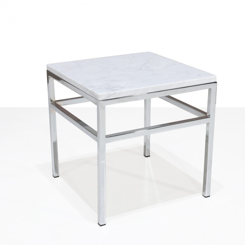 STUDDED coffee table - low coffee table with chrome steel base and marble top