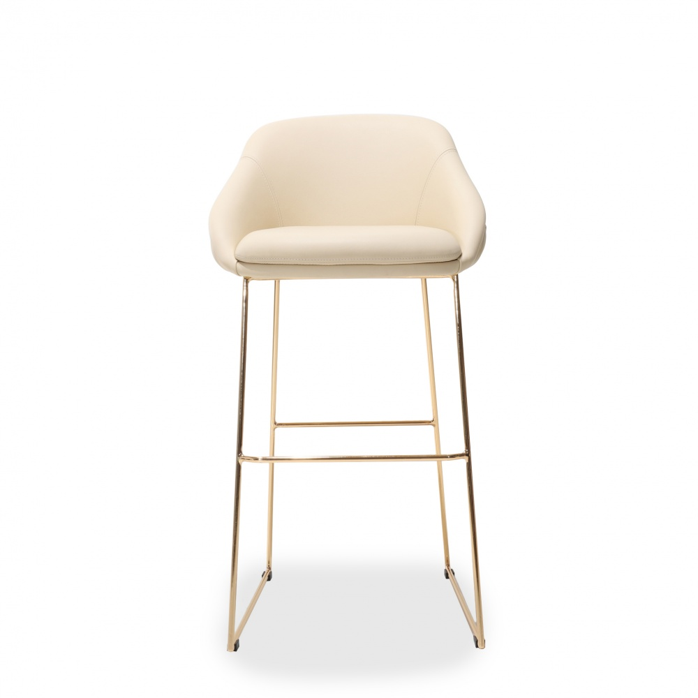 TOLONE CAPITONNE 'STOOL - counter stool with gold chrome base