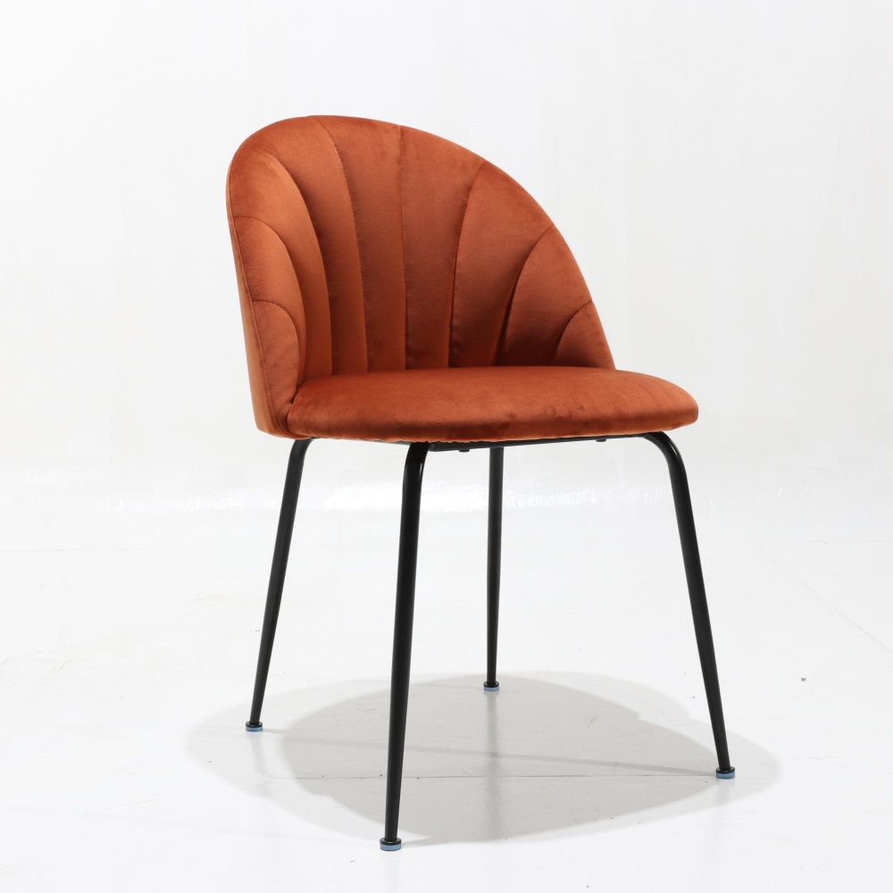 SHELL quilted lacquered chair - padded dining chair with internal quilting and lacquered metal base
