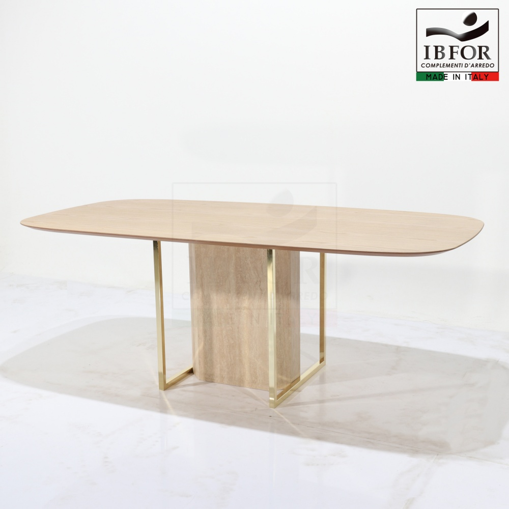 COLORADO TABLE - dining table with laminate top and steel and marble base