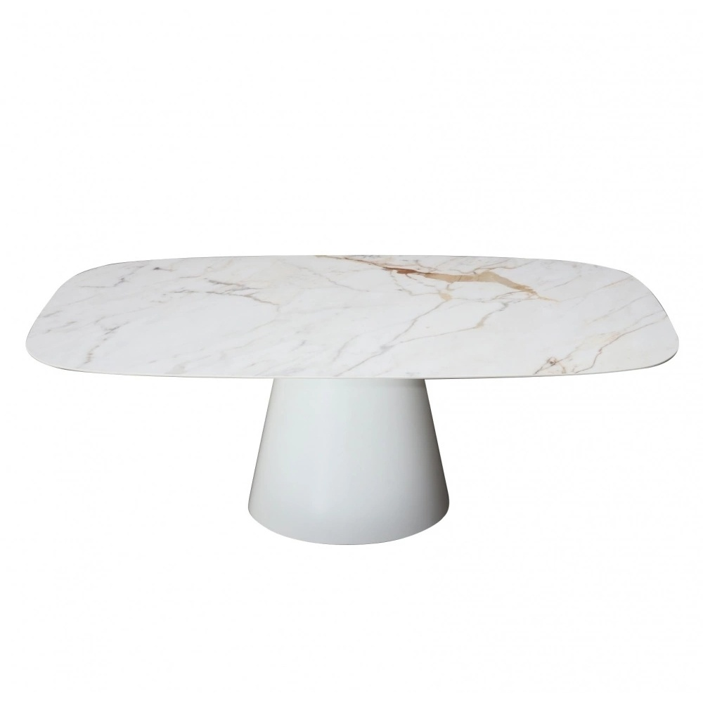 BEATRICE TABLE with ceramic top - MARBLE  effect and central base - barrel shaped top