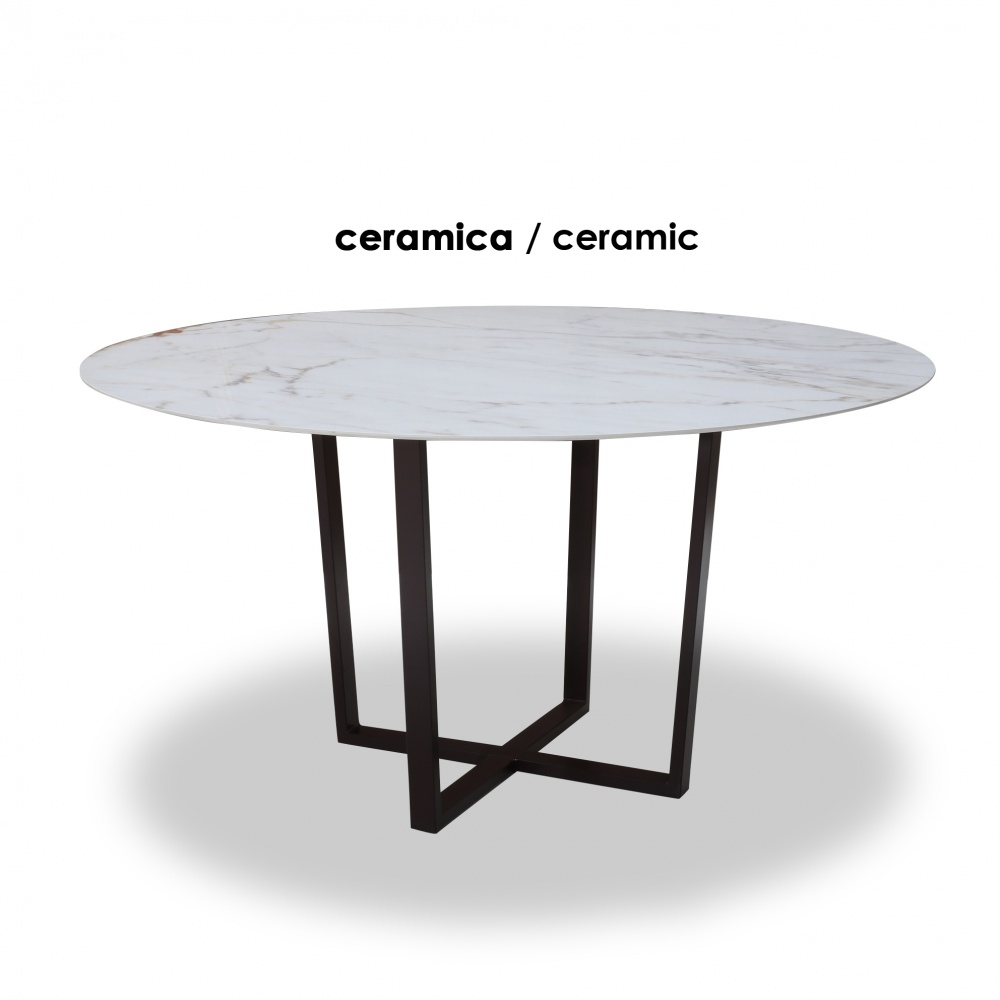 KROSS round ceramic table with marble effect - round dining table with central metal base