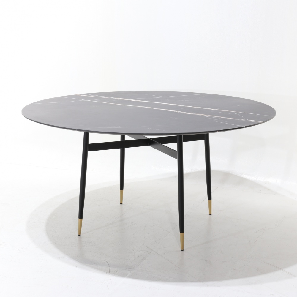 TABLE ESTE -LUNCH TABLE WITH CENTRAL METAL BASE AND MARBLE TOP