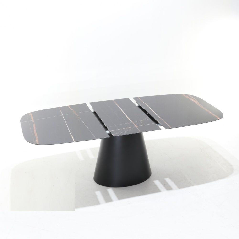 Extendable table BEATRICE - barrel shaped ceramic top with marble effect