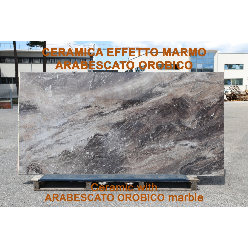 Ceramic slab with Arabescato Orobico marble effect - slab for dining table tops, side tables or sideboards