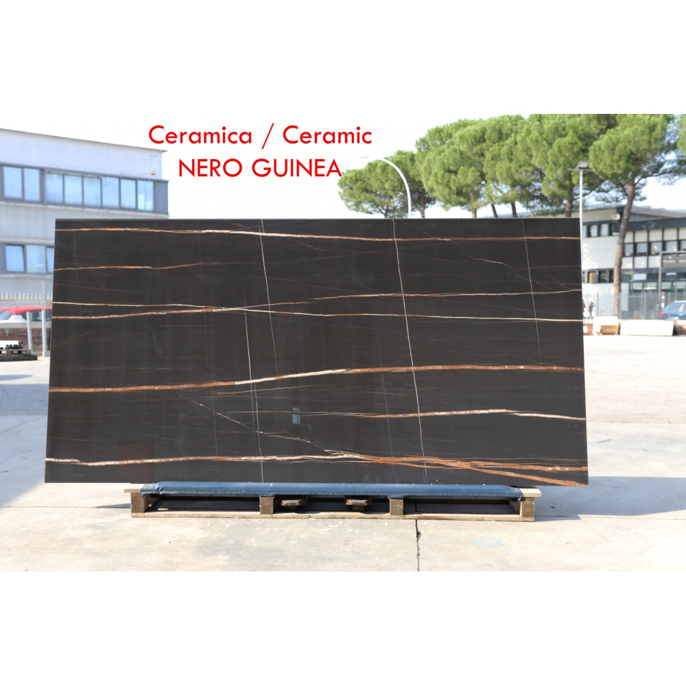 Ceramic slab with black guinea marble effect - slab for dining table tops, side tables or sideboards