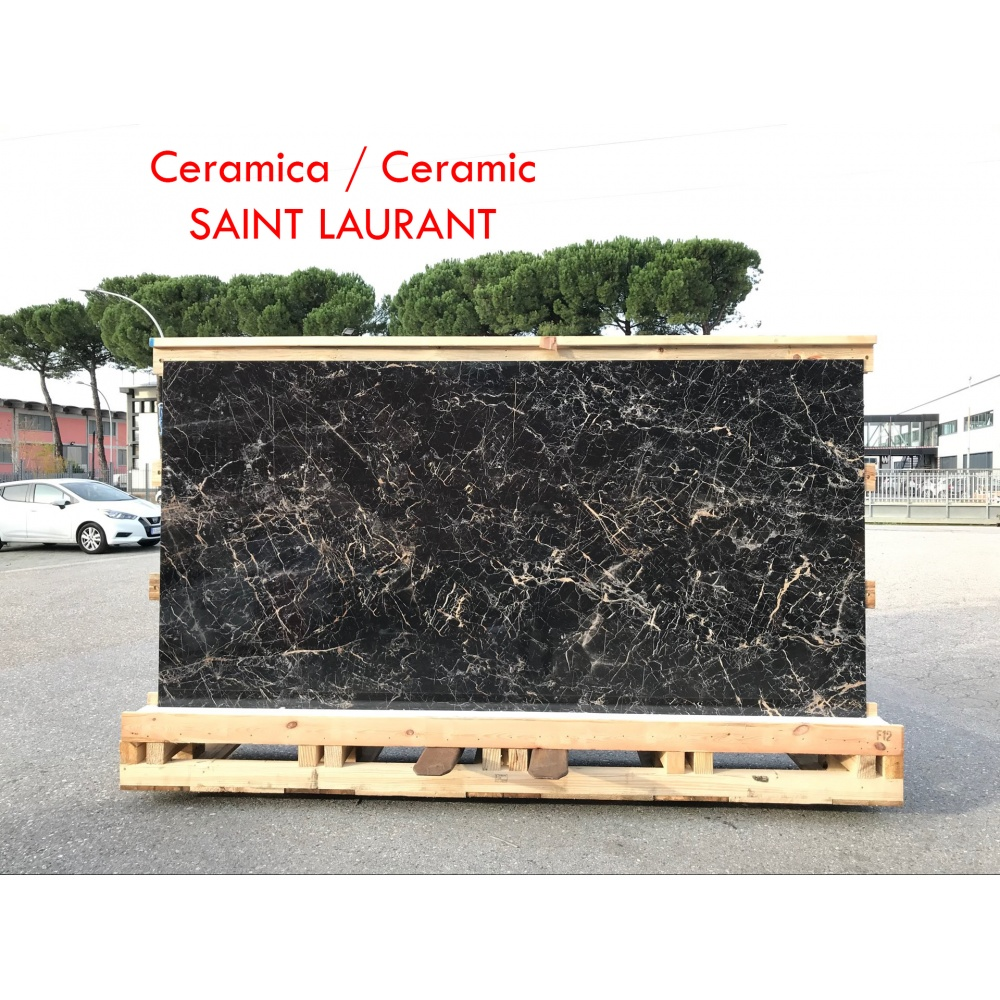 Ceramic slab with Saint Laurant  marble effect - slab for dining table tops, side tables or sideboards