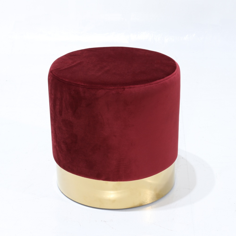 ALLOY FOOTSTOOL - design padded with gold chrome metal base