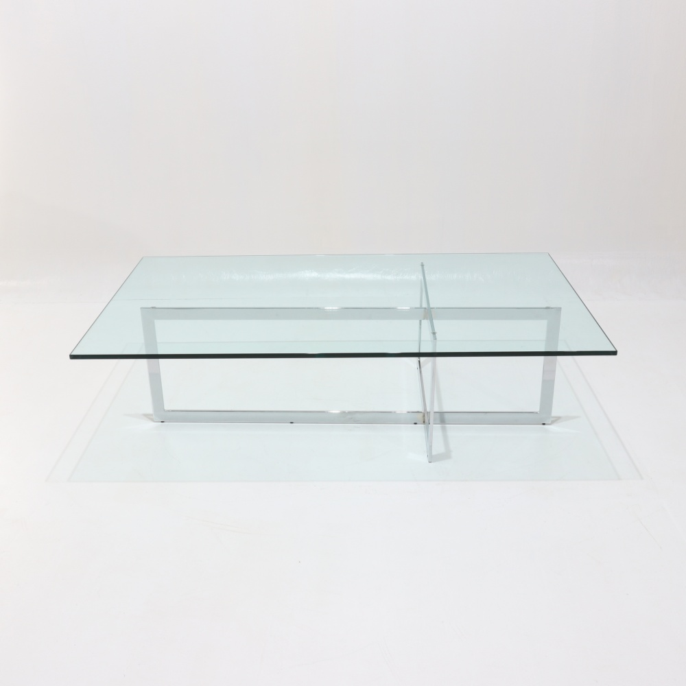 LC rectangular TABLE - low smoking table with glass top