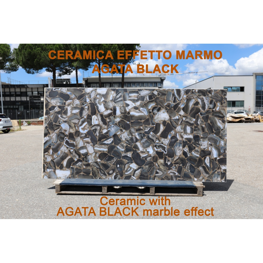 Ceramic slab with Agata Black marble effect - slab for dining table tops, side tables or sideboards