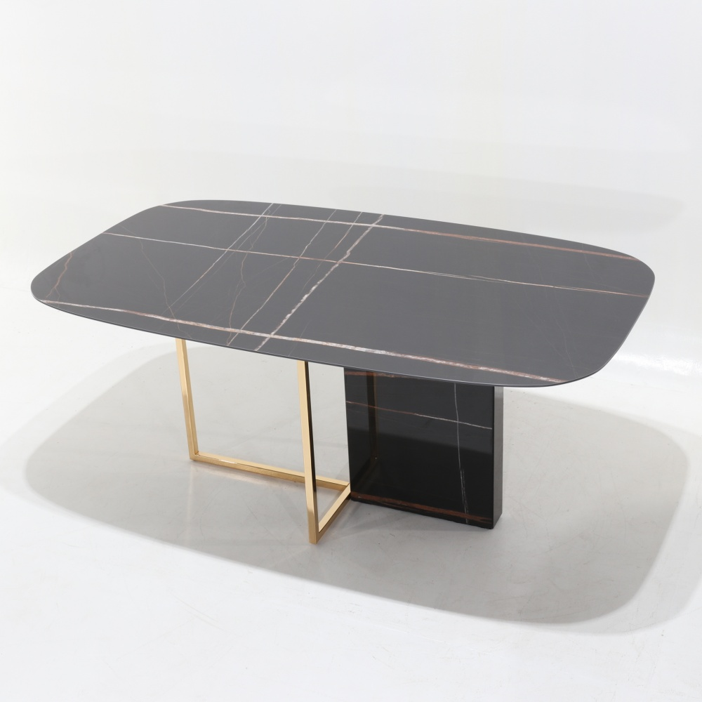 ARIZONA TABLE - dining table with metal and marble base and ceramic top with Nero Guinea marble effect