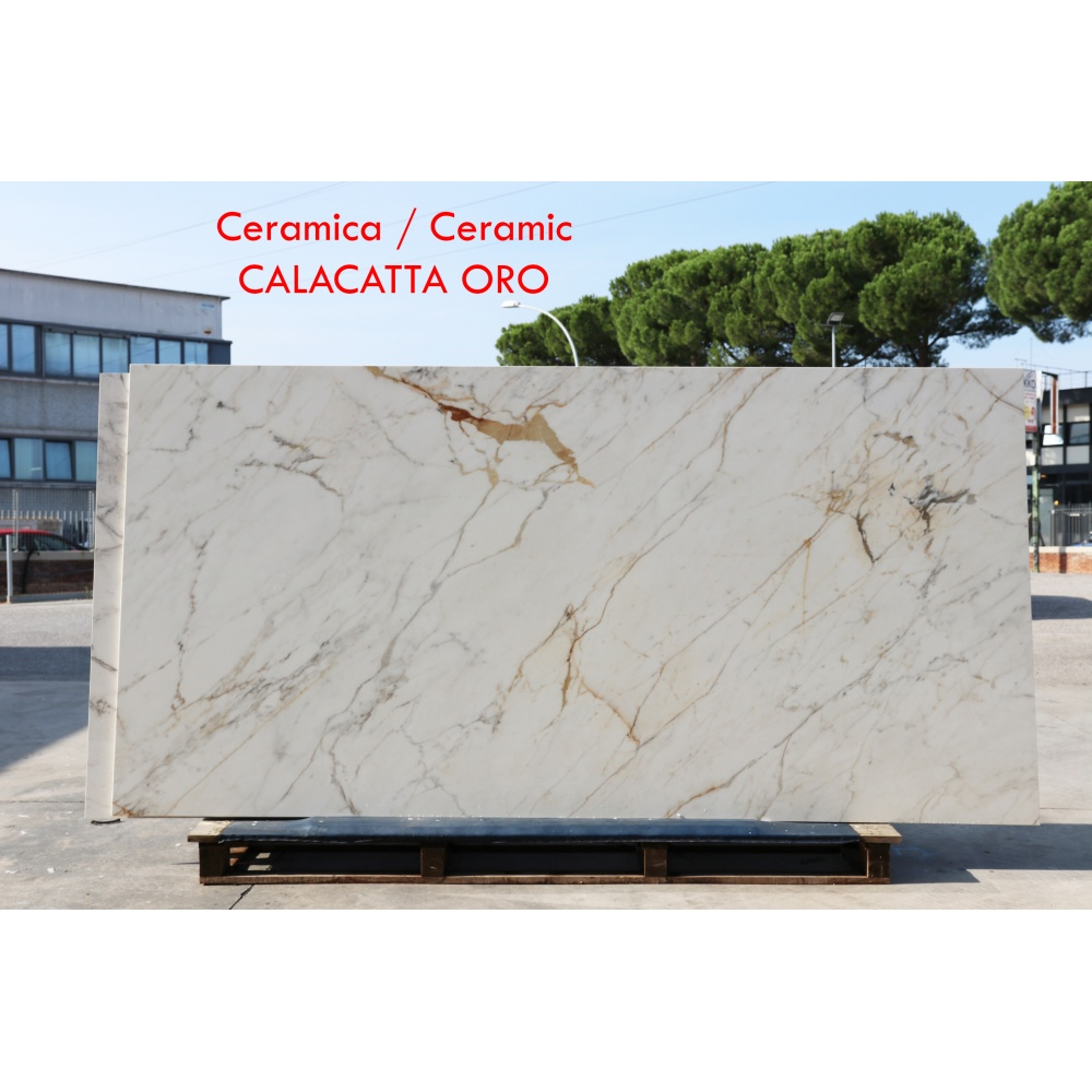 Ceramic slab with gold calacatta marble effect - slab for dining table tops, side tables or sideboards