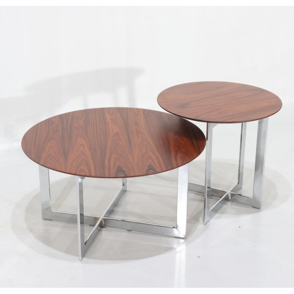 Set of LC tables - set of two round smoking tables in steel and wood