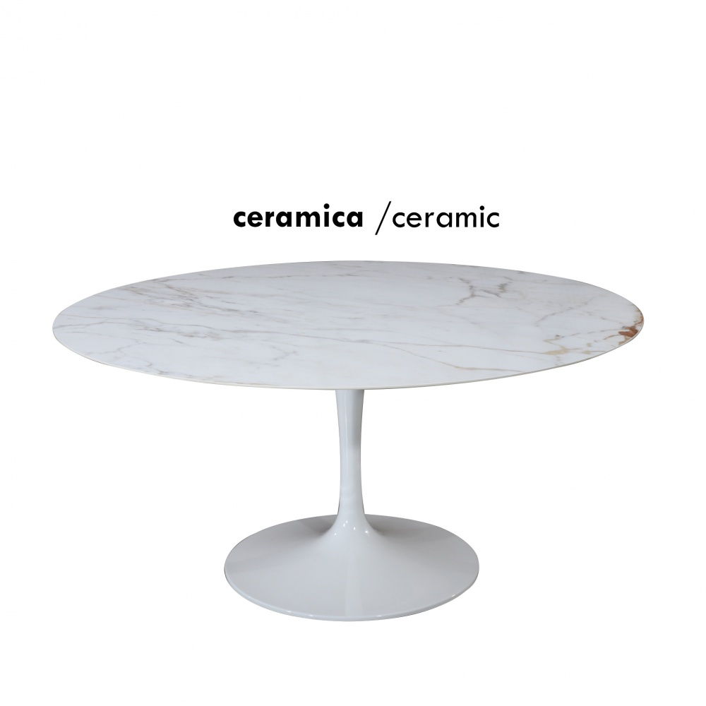 WING TABLE with marble effect ceramic top - dining table with central aluminum base