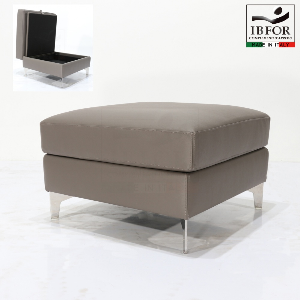 MORENO storage pouf - storage pouf with wooden structure, steel base and leather covering