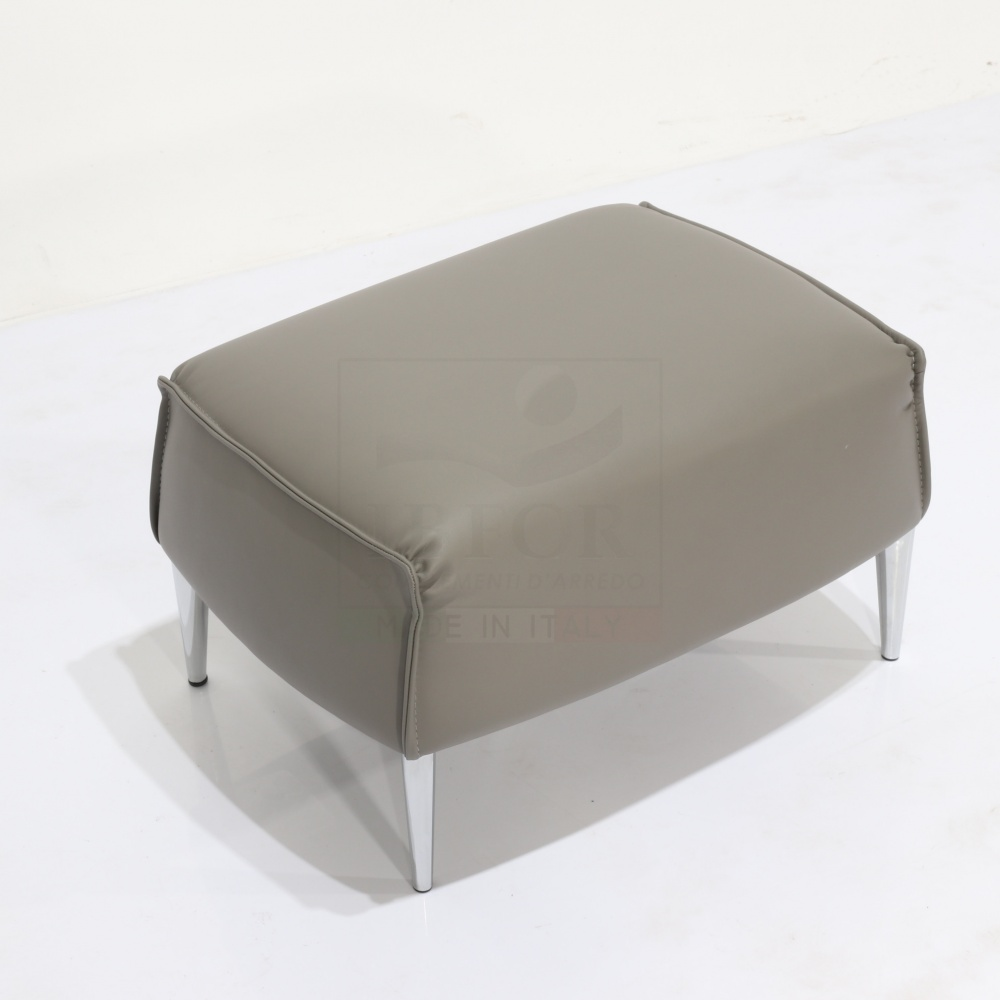 POUF VIGO in steel and leather