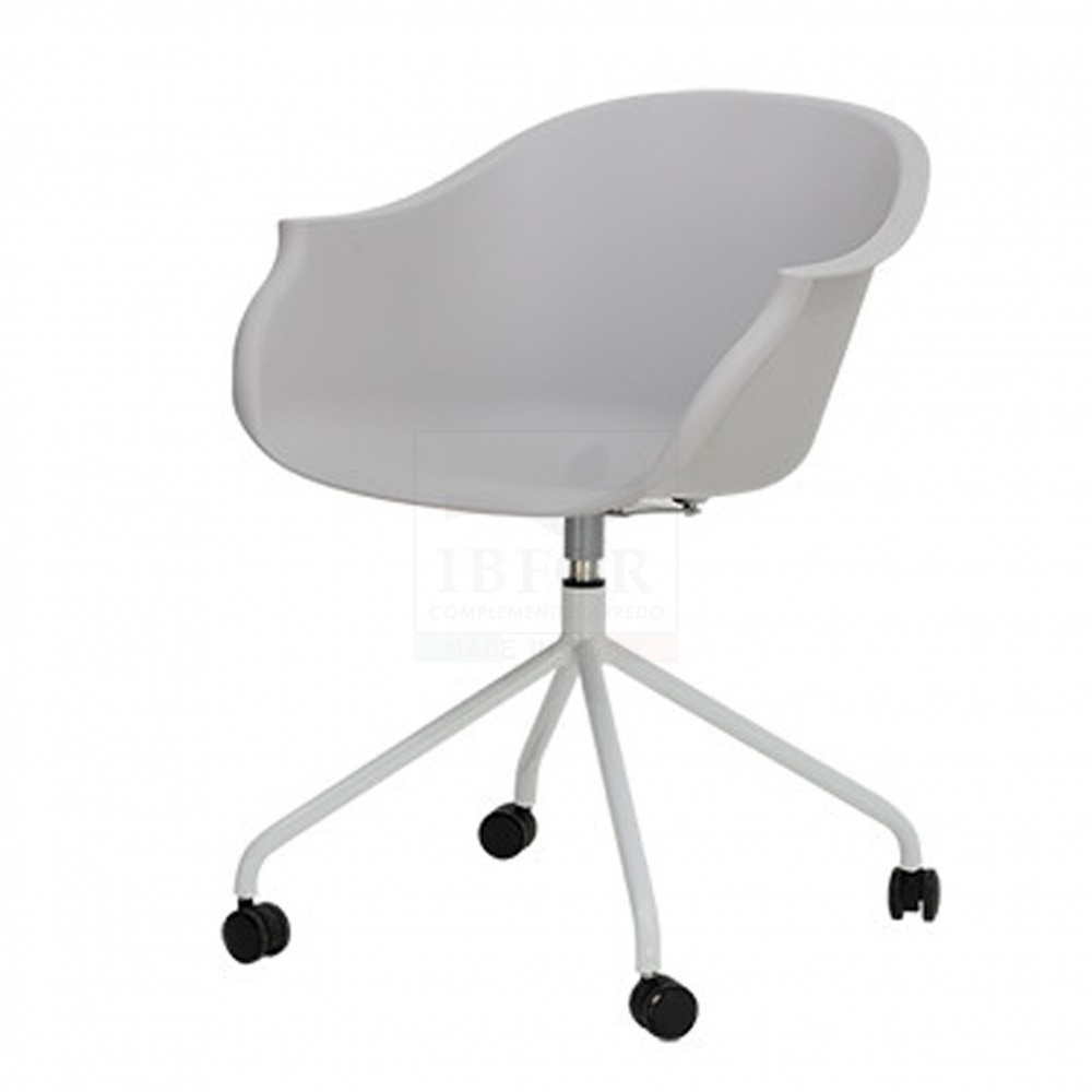 Office chair CLAUDIA - polypropylene office chair with armrests, wheels and adjustable height