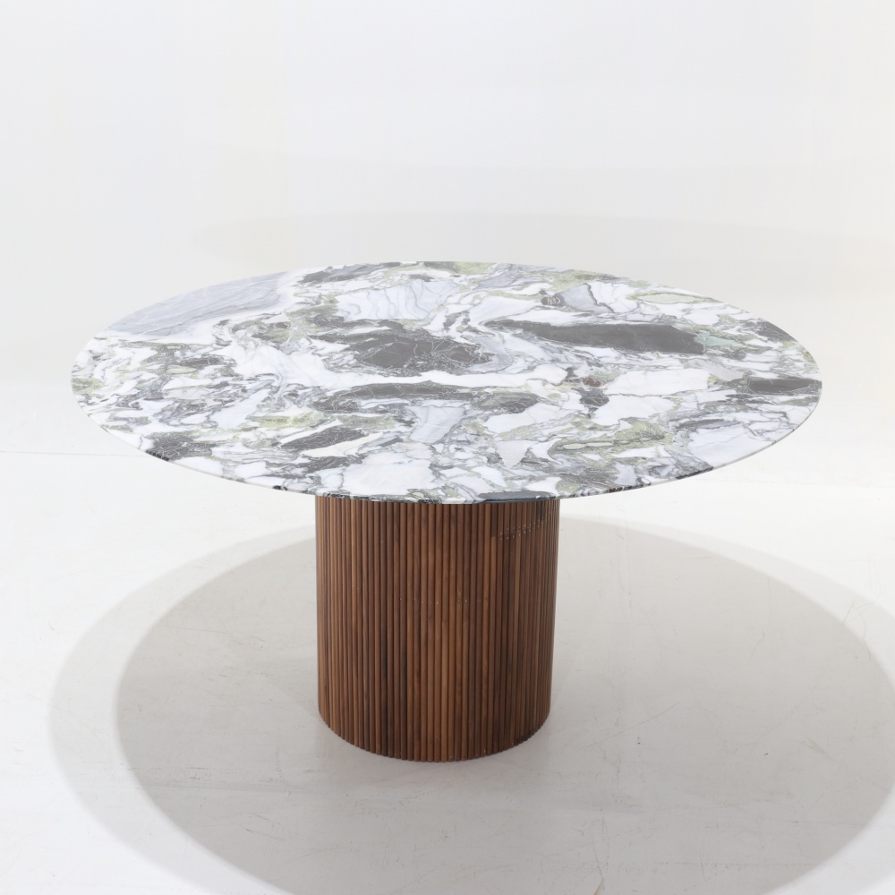 TABLE MILLERIGHE-DINING TABLE WOODEN BASE AND MARBLE TOP