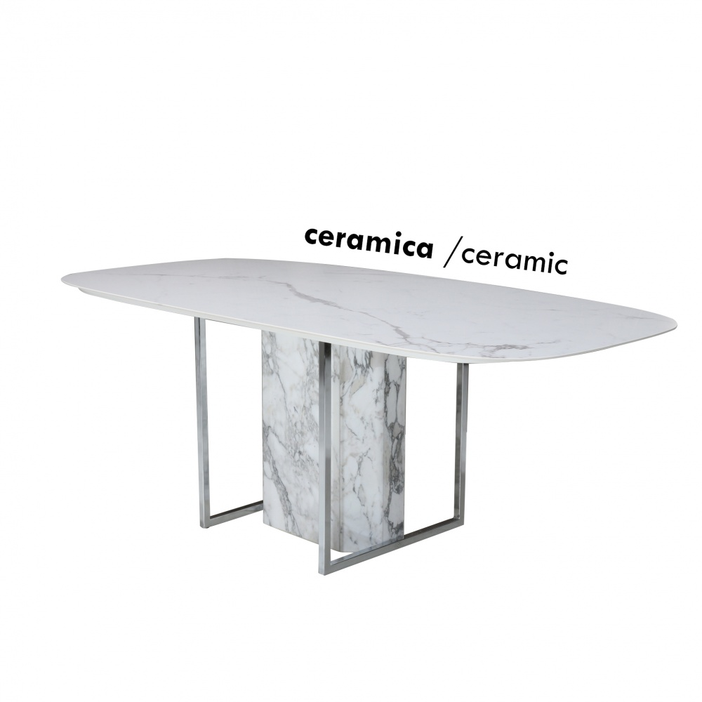 COLORADO TABLE - dining table with ceramic top with marble effect and chromed metal and marble base
