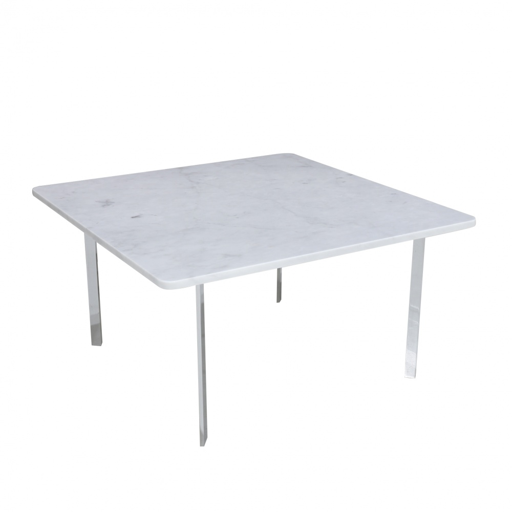 GIRONA COFFEE TABLE - with chromed steel base and square marble top