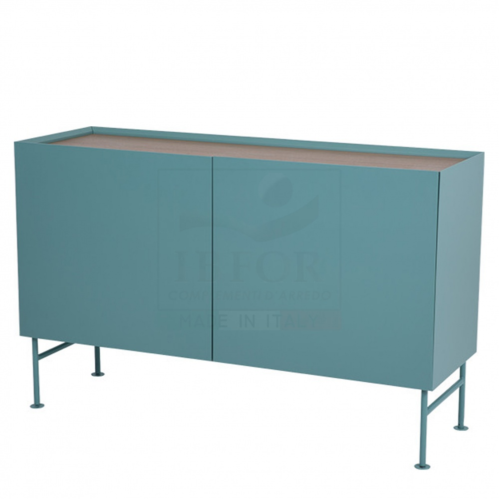 BELINDA sidebord 2 DOOR - lacquered wooden sideboard with two doors and steel base