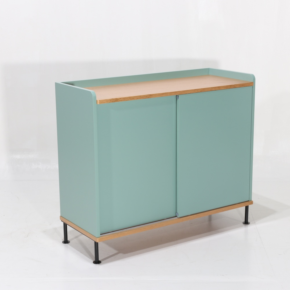 BERTA sideboard 2 doors - day cabinet with two doors in lacquered wood and steel base