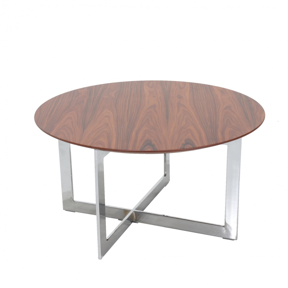 LC coffee table - round smoking table in steel and wood