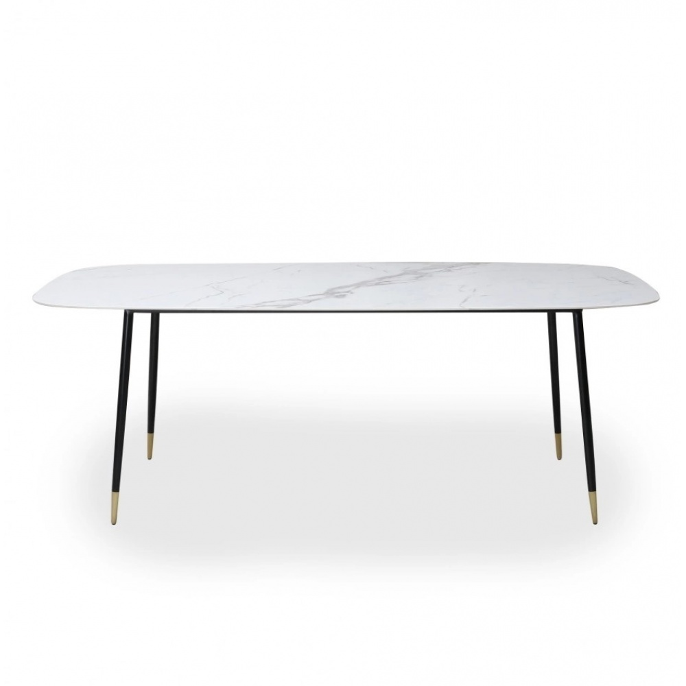 TABLE ESTER - DINING TABLE WITH METALLIC BASE AND CERAMIC TOP