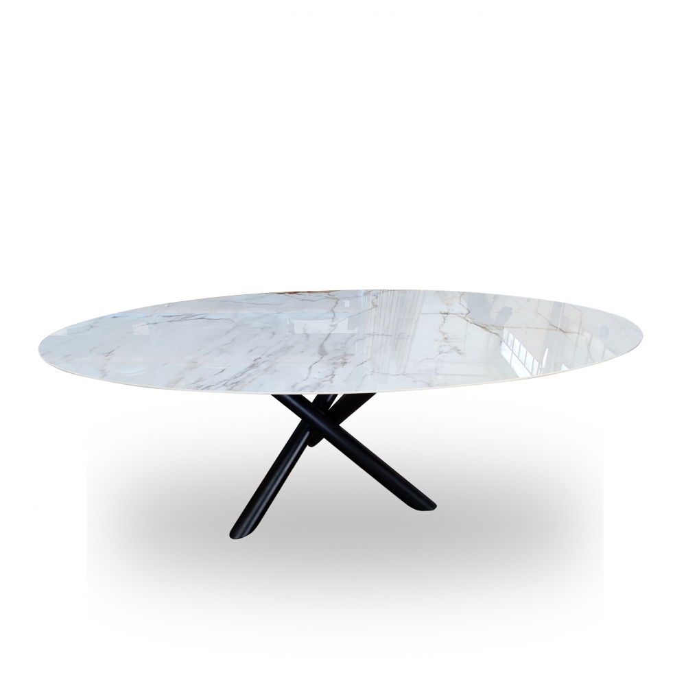 Table INTRECCIO - oval dining table with ceramic top with marble effect