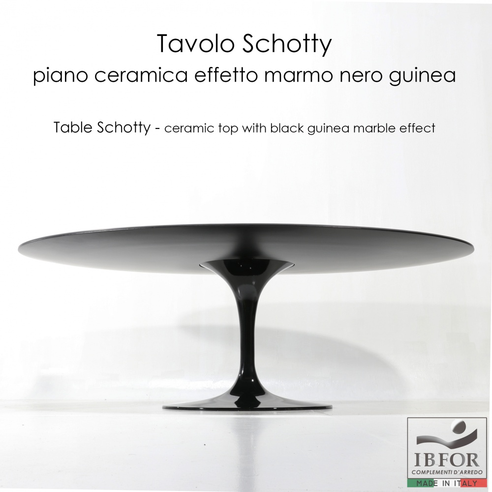SCHOTTY table with black guinea marble effect top - oval dining table with central base
