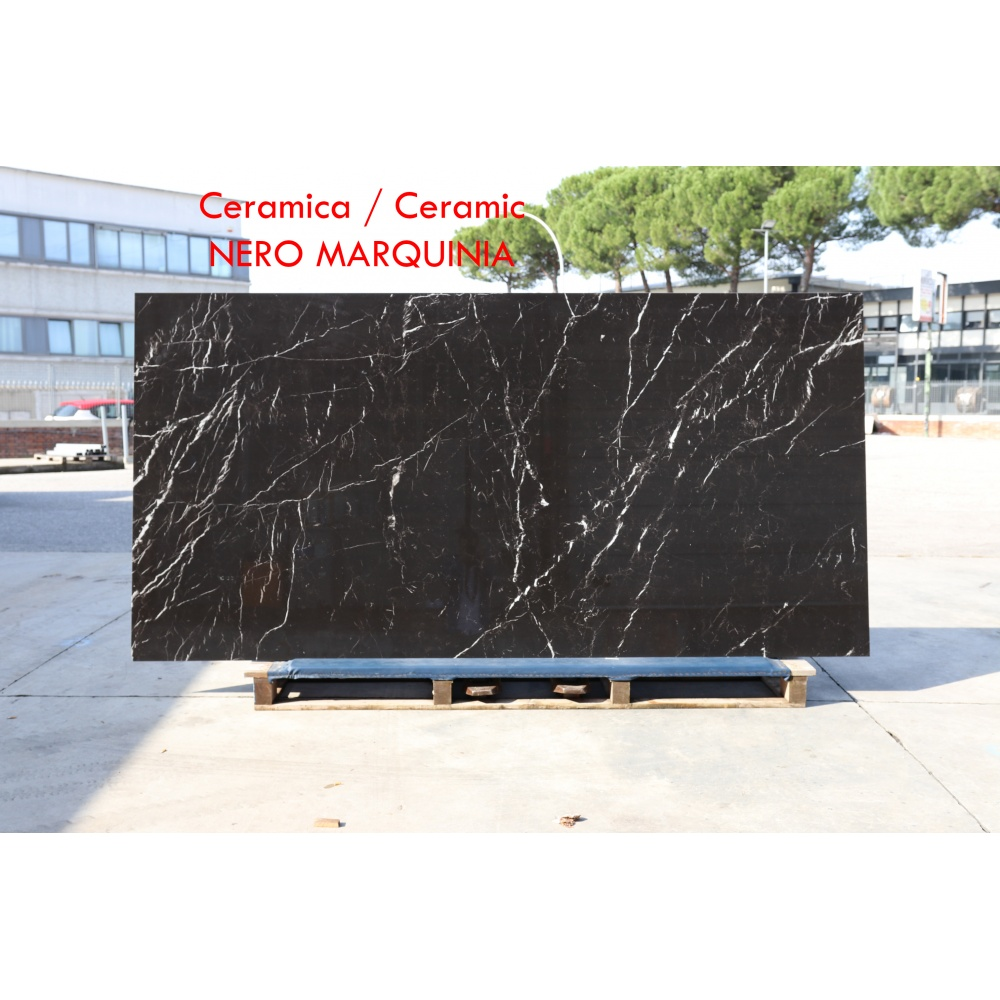 Ceramic slab with black marquinia marble effect - slab for dining table tops, side tables or sideboards