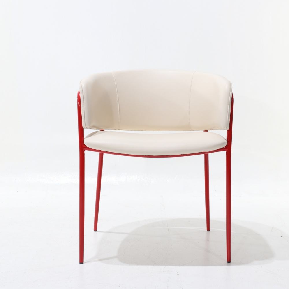 JJADA CHAIR - dining chair LACQUERED RED IN LEATHER