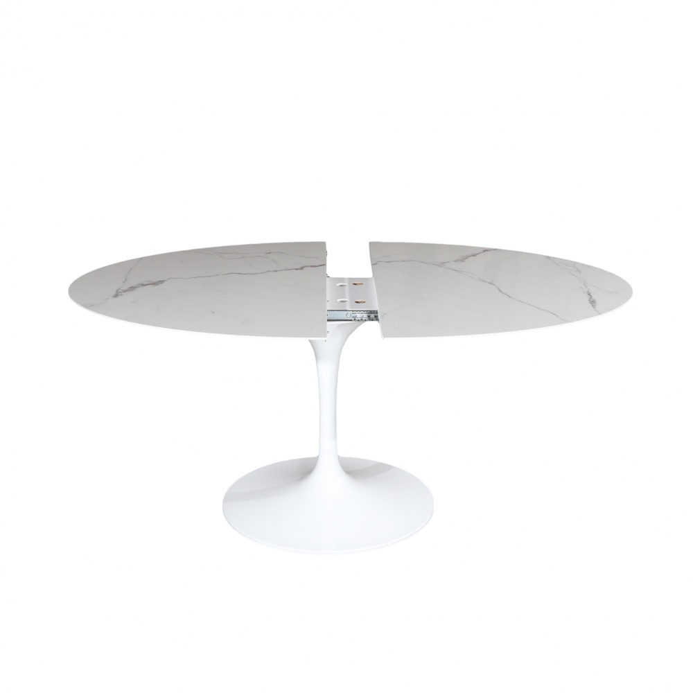 Extendable WING table - statuary effect ceramic top - extendable design dining table with ceramic top