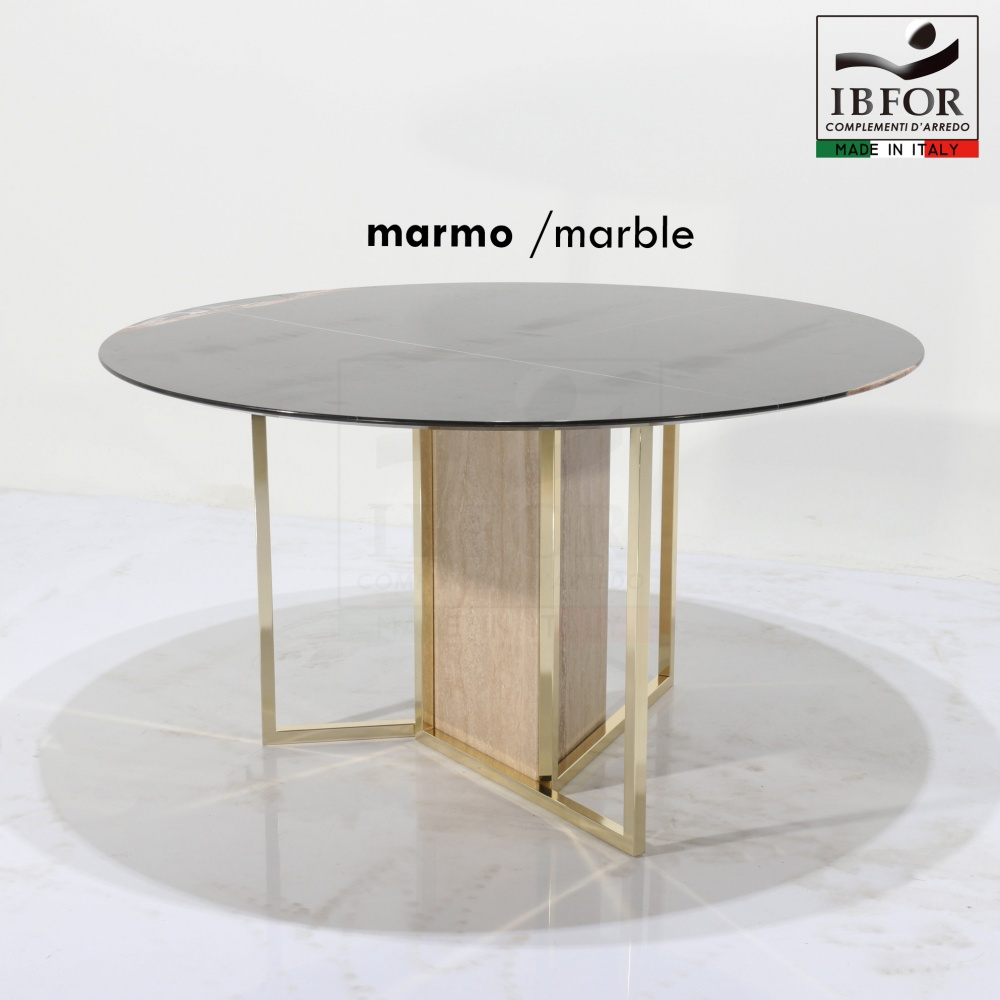 LOUISIANA table in BLACK GUINEA marble - dining table with round marble top and steel and marble base