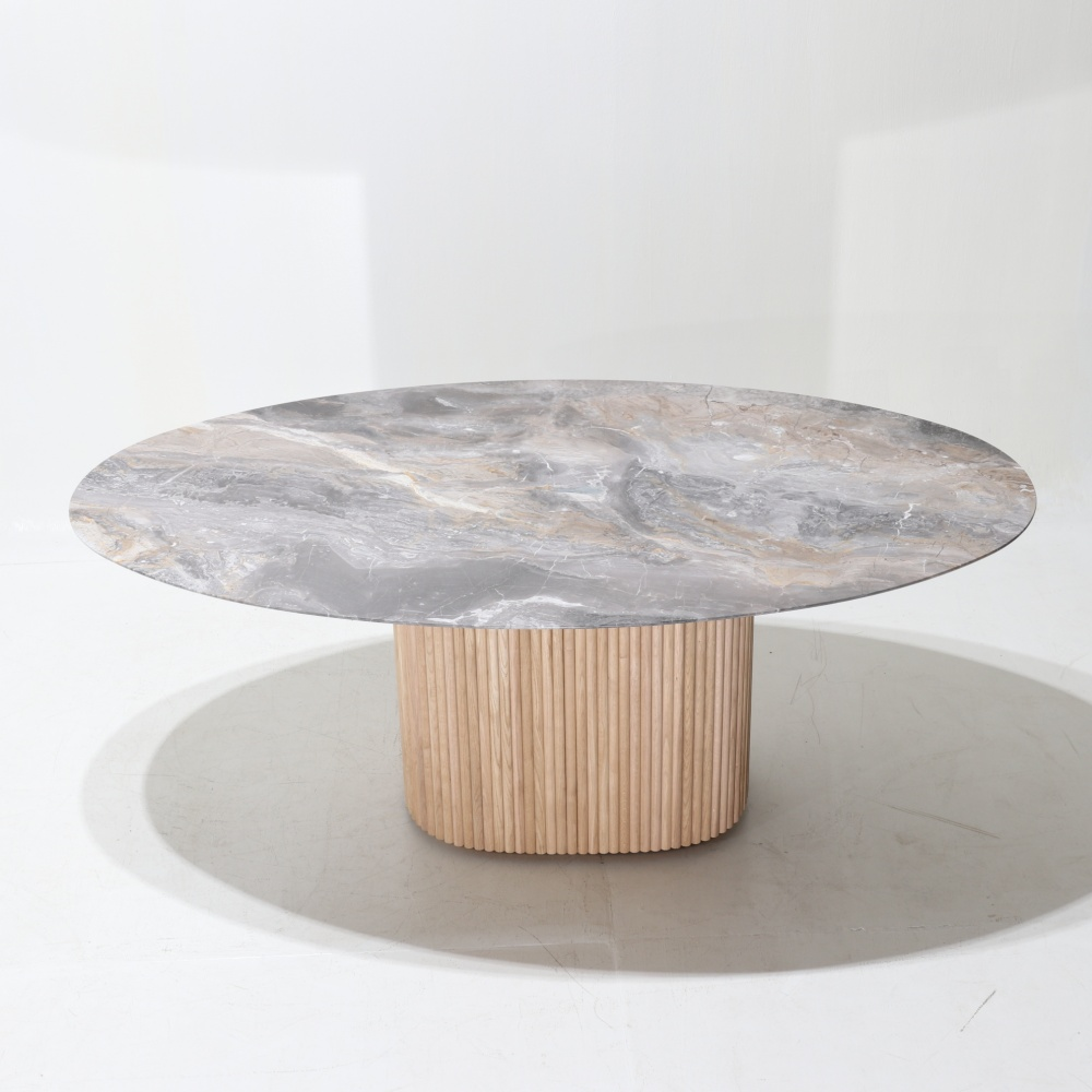 TABLE MILLERIGHE- OVAL TOP IN ARABESCATO OROBICO MARBLE