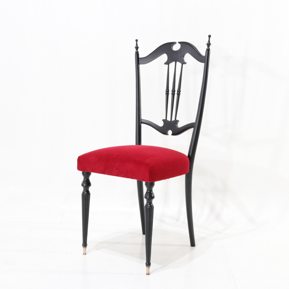 N. 2 S19 CHAIRS - in beech wood and upholstered seat and covered in red velvet
