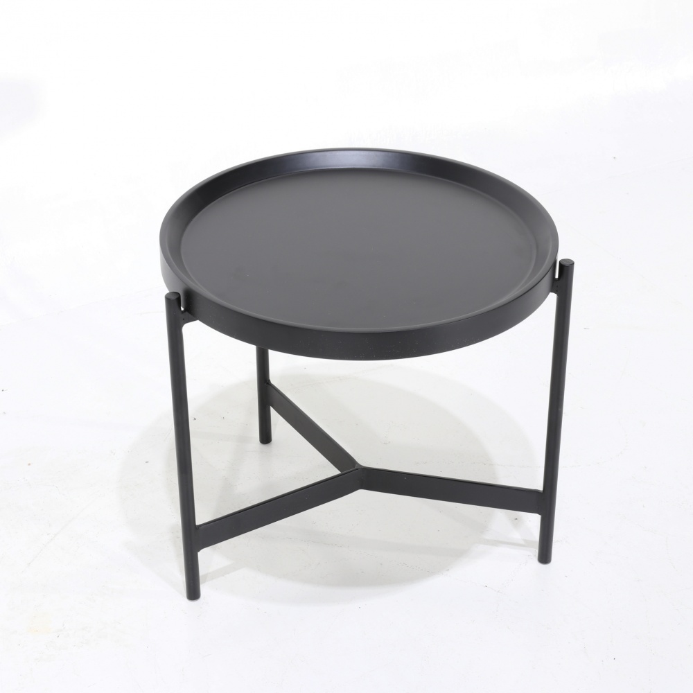 UGO coffee table - round steel smoking table and wooden tray top