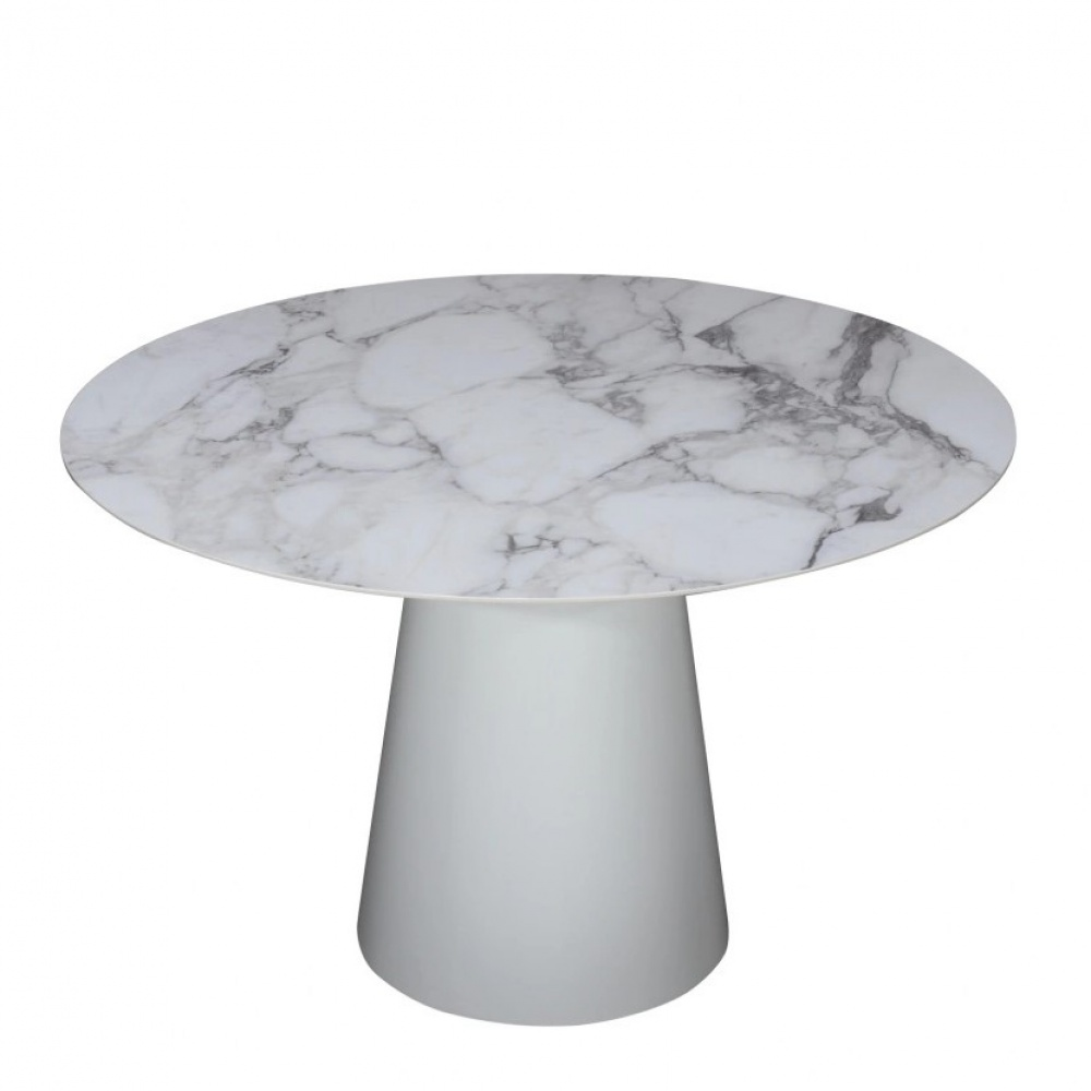BEATRICE dining TABLE - with ceramic top with arabesque marble effect