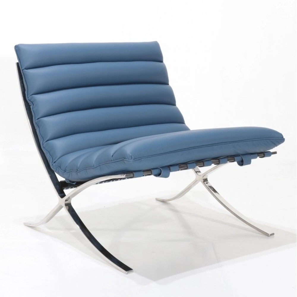SARAGOZZA ARMCHAIR - with chromed steel base and leather cushion