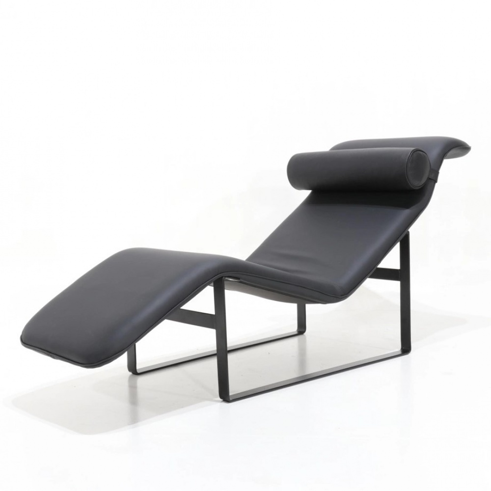 JONAS chaise longue - metal armchair upholstered in fabric or leather