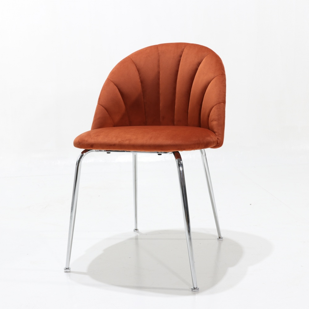Quilted SHELL chair with chrome base - upholstered dining chair with internal quilting chromed metal base