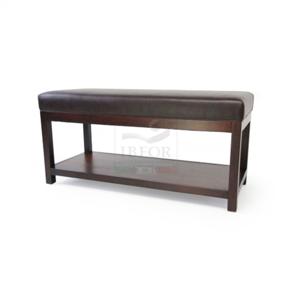 COCKTAIL BENCH WITH WENGE LEGS IN DARK BROWN LEATHER