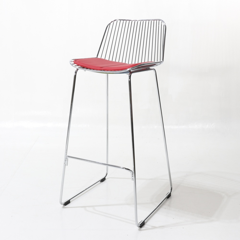 BRENDA stool with cushion - chromed steel counter stool and upholstered seat