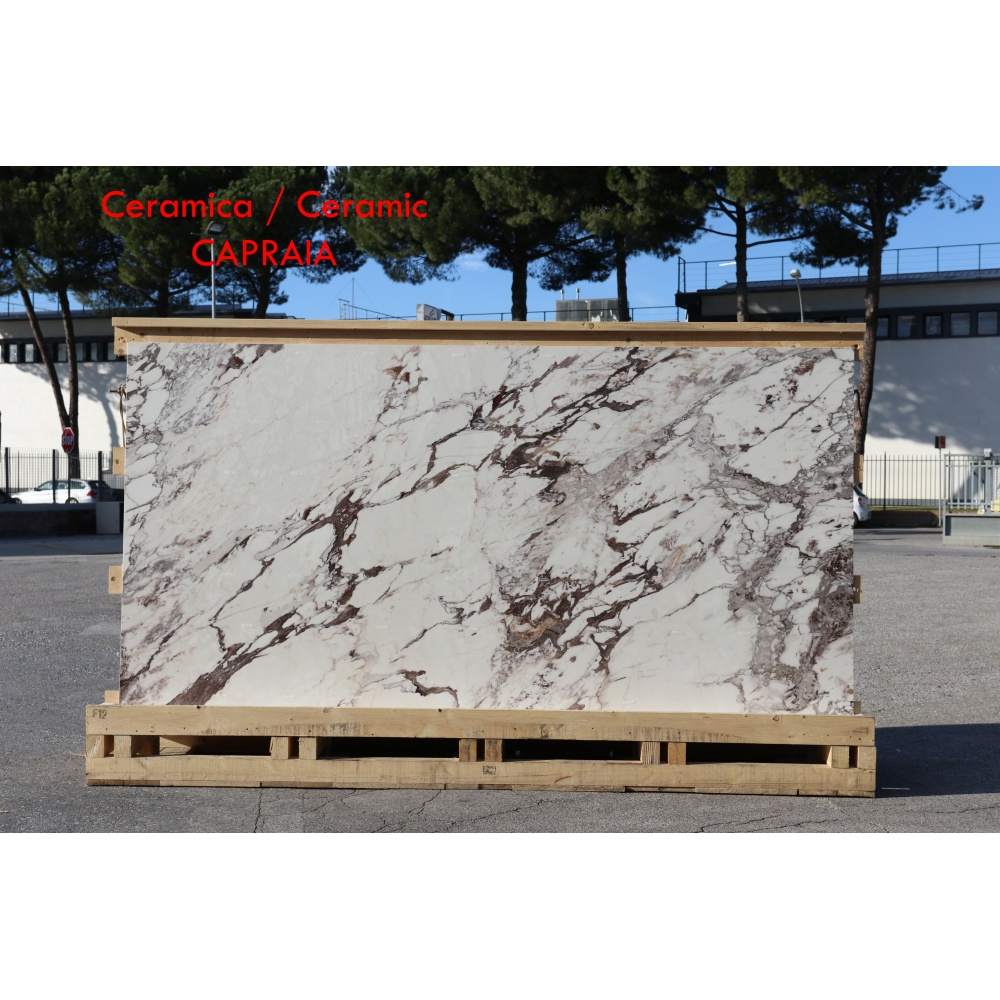 Ceramic slab with Capraia marble effect - slab for dining table tops, side tables or sideboards
