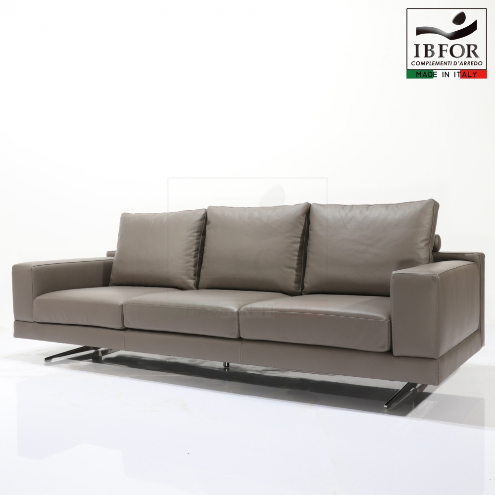SOFA in leather PIET - linear sofa with steel base and leather covering