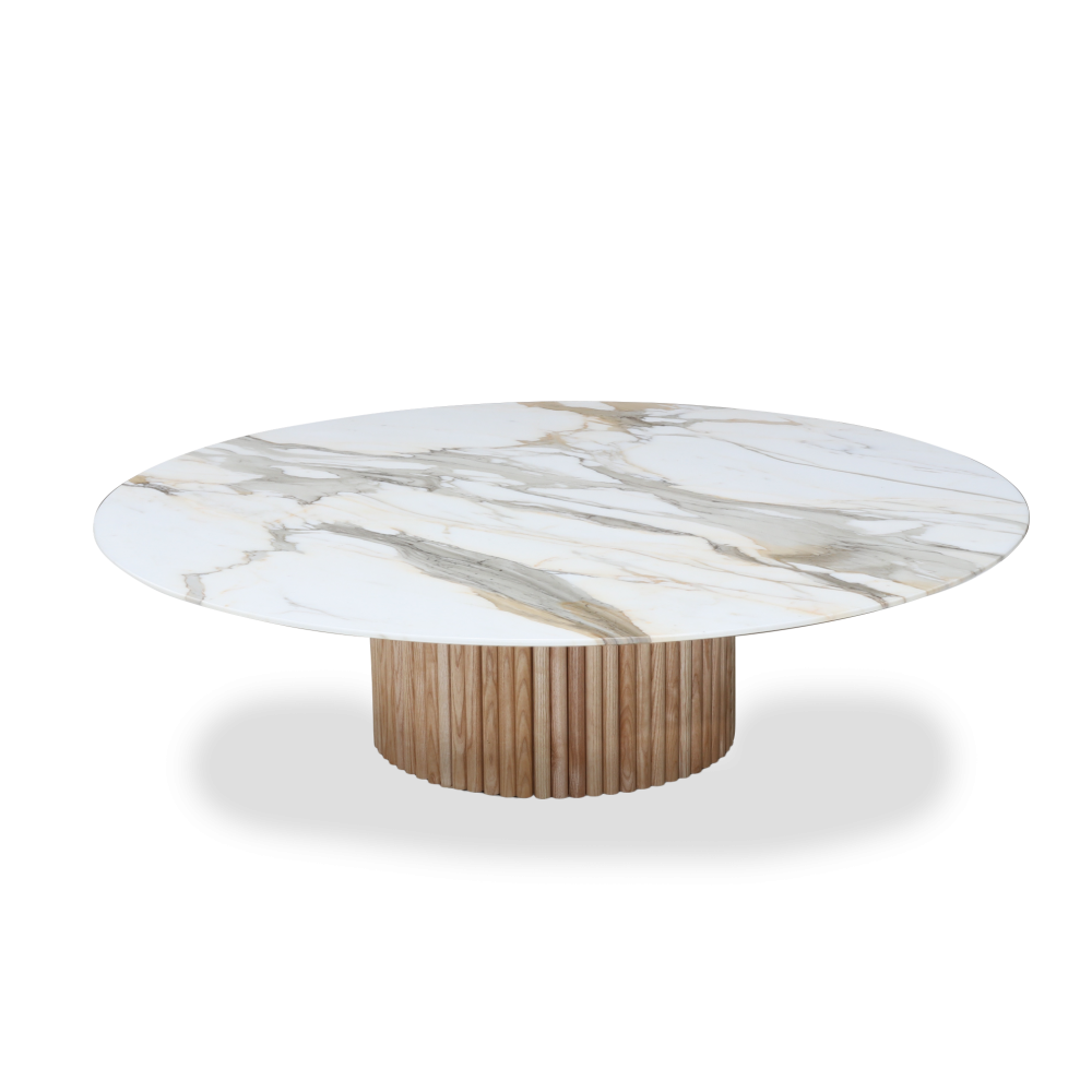MILLERIGHE TABLE - Coffee table with wooden base and oval top
