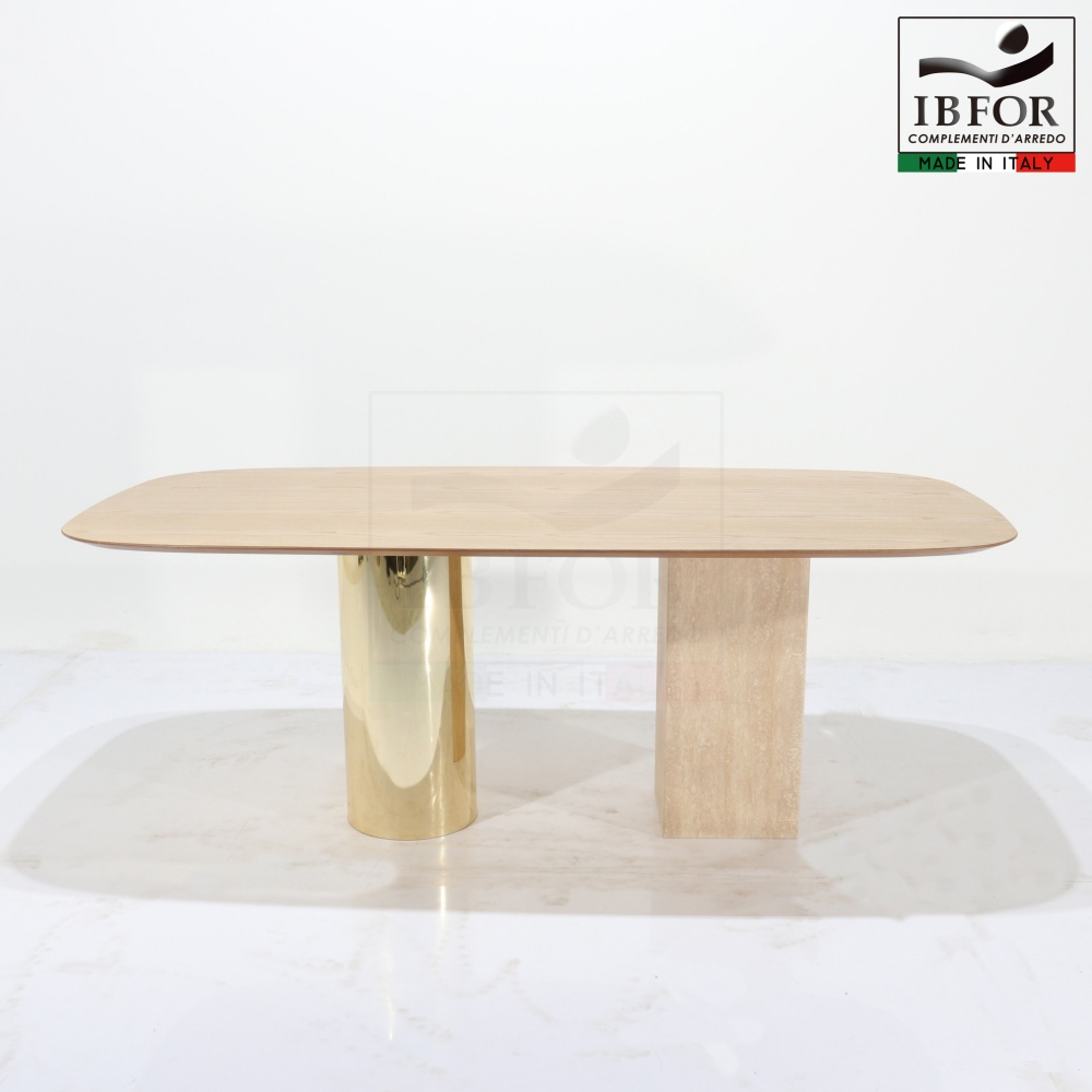 VERMONT table - dining table with laminate top and base in marble and wood