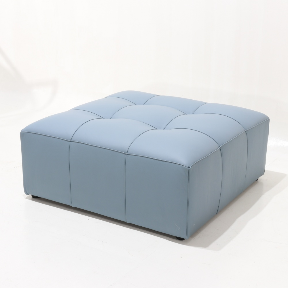 SAFFO pouf with border trim - square leather pouf